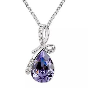 Purple drop necklace made with Swarovski elements